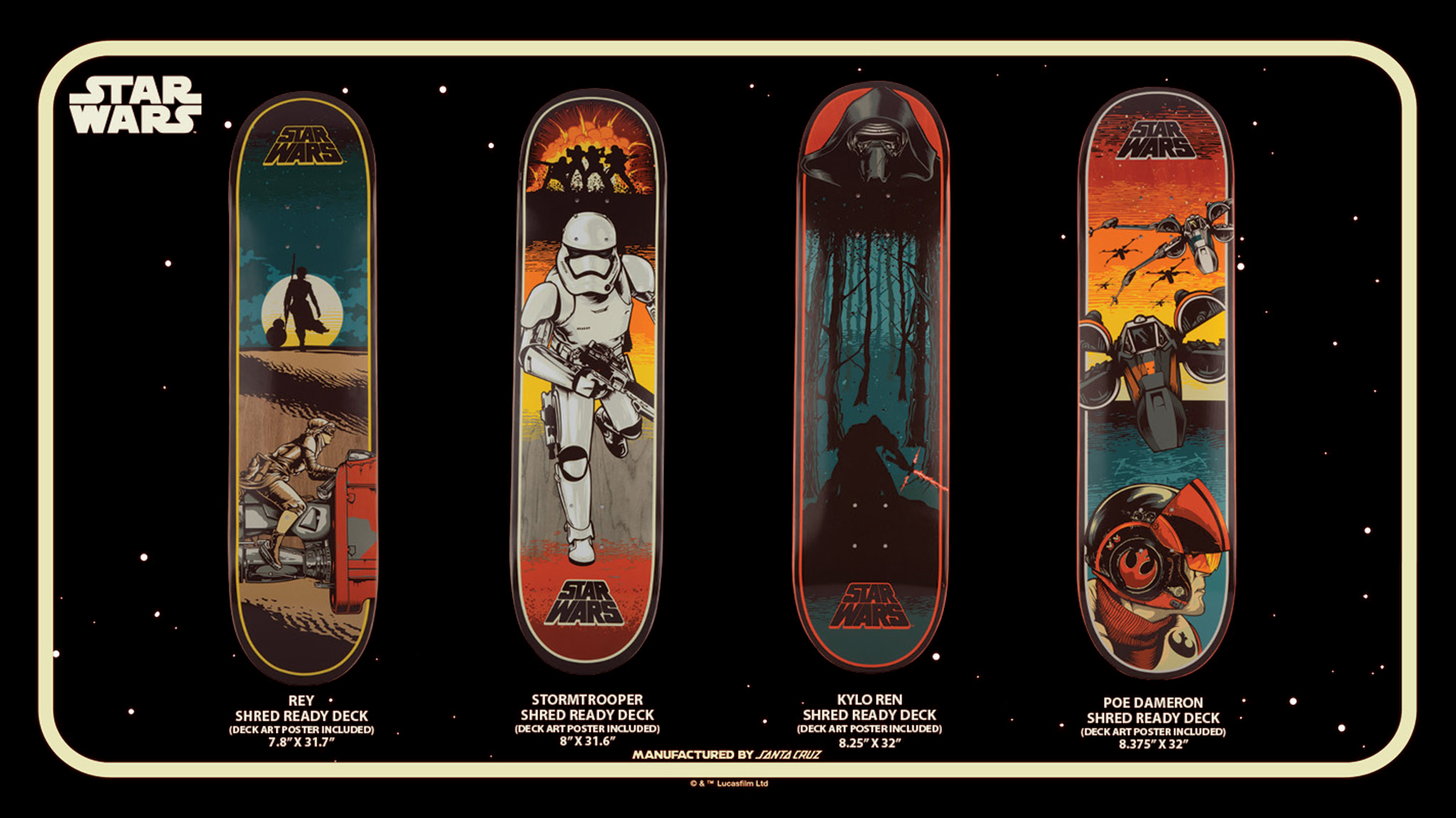 Santa Cruz X Star Wars Episode Vii Skateboard Collection