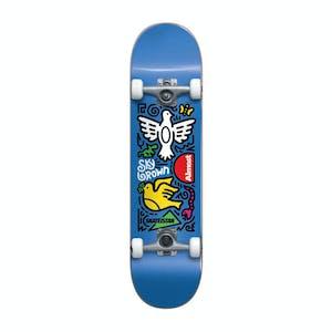 """Almost Sky Brown Doodle 7.5"""" Complete Skateboard - Blue"""