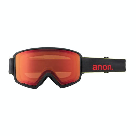Anon M3 Asian Fit Snowboard Goggle 2021 - Black Pop / Perceive Sunny Red + Spare Lens