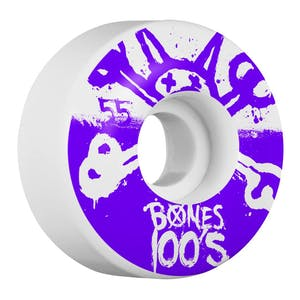 Bones 100's 55mm Skateboard Wheels - White/Purple