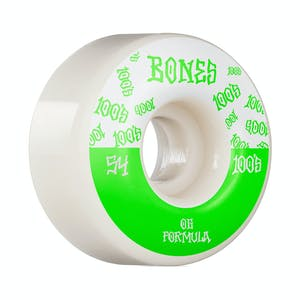 Bones 100's 54mm V4 Skateboard Wheels - White/Green