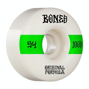 Bones 100's V4 54mm Skateboard Wheels - White/Green
