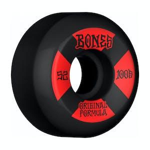 Bones 100's V5 52mm Skateboard Wheels - Black/Red