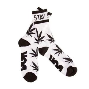 DGK Stay Smokin' Crew Socks — White/Black