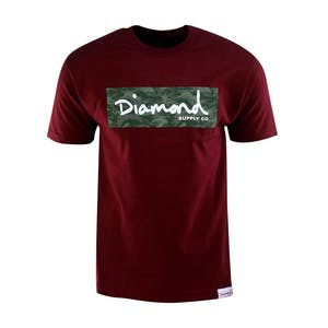 Diamond Camo Box T-Shirt — Burgundy
