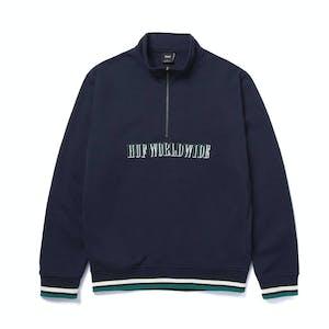 HUF Shadow Serif 1/4 Zip Fleece - Navy Blazer