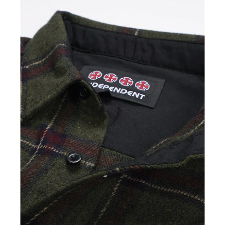 Independent Chainsaw Long Sleeve Flannel Shirt - Olive