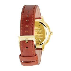 Nixon Kensington Leather Watch - Gold/Saddle