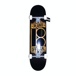 "Plan B Official Pinstripe 7.75"" Complete Skateboard"