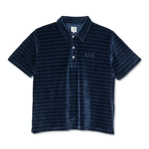 Polar Stripe Velour Polo Shirt - Navy