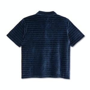 Polar Stripe Velour Polo Shirt - Navy
