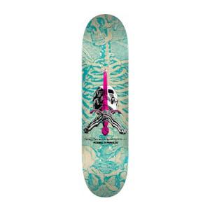"Powell-Peralta Skull & Sword 8.25"" Skateboard Deck - Natural/Turquoise"