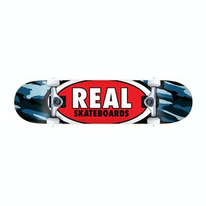 "Real Oval Camo 7.3"" Complete Skateboard - Blue"