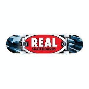 "Real Oval Camo 7.3"" Complete Skateboard - Blue"