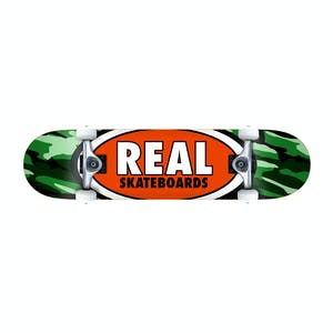 "Real Oval Camo 7.75"" Complete Skateboard - Green"