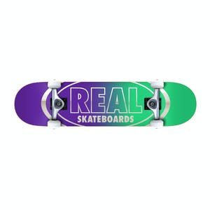 "Real Oval Golden Outline 8.0"" Complete Skateboard - Green/Purple"