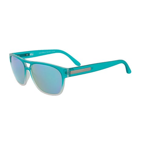 Sandbox Patroller Sunglasses - Teal Fade / Green Chrome
