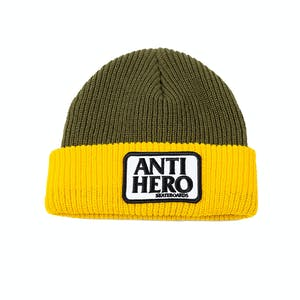 Antihero Reserve Patch Beanie - Olive/Yellow