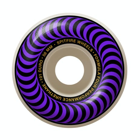 Spitfire Classic Swirl Formula Four 101D 58mm Skateboard Wheels - Purple