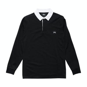 Stussy Graffiti Rugby Long Sleeve Shirt - Black