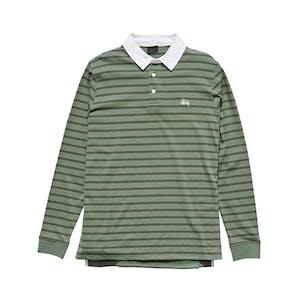 Stussy Plain Stripe Long-Sleeve Rugby Shirt - Flight Green