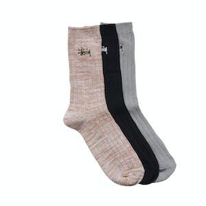 Stussy Rib Socks 3 Pack - Multi
