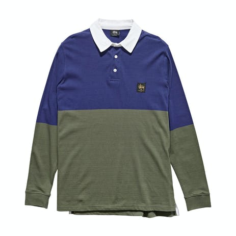 Stussy Twos Long Sleeve Rugby Shirt - Dark Navy/Flight Green