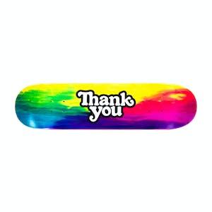 """Thank You Tie-Dye Logo 7.75"""" Skateboard Deck"""