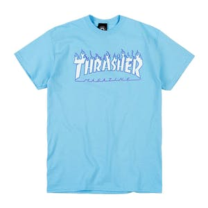 Thrasher Flame T-Shirt - Sky Blue
