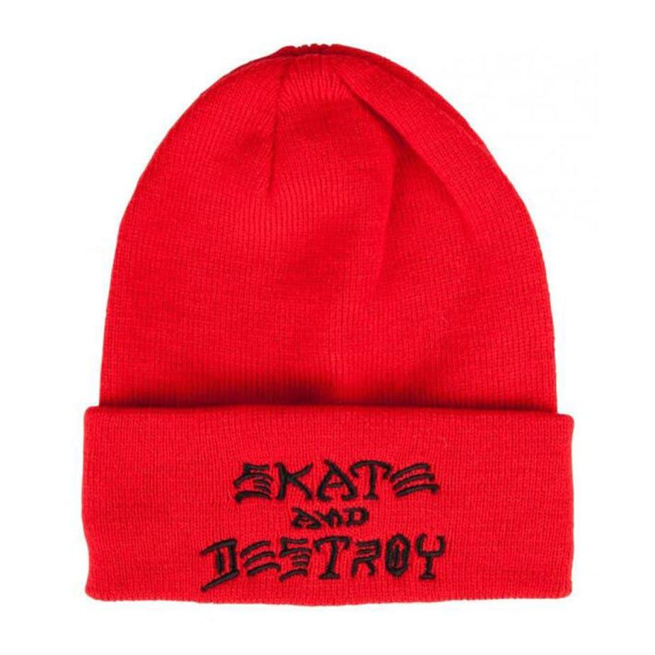 Thrasher Magazine EMBROIDERED SKATE AND DESTROY Cuff Skateboard Beanie RED