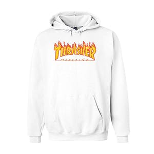 Thrasher Flame Hoodie - White