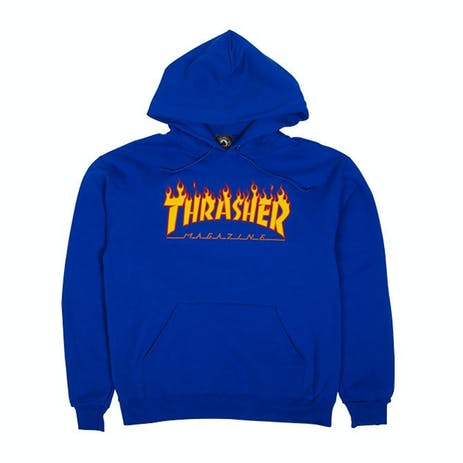 Thrasher Flame Hoodie - Royal Blue