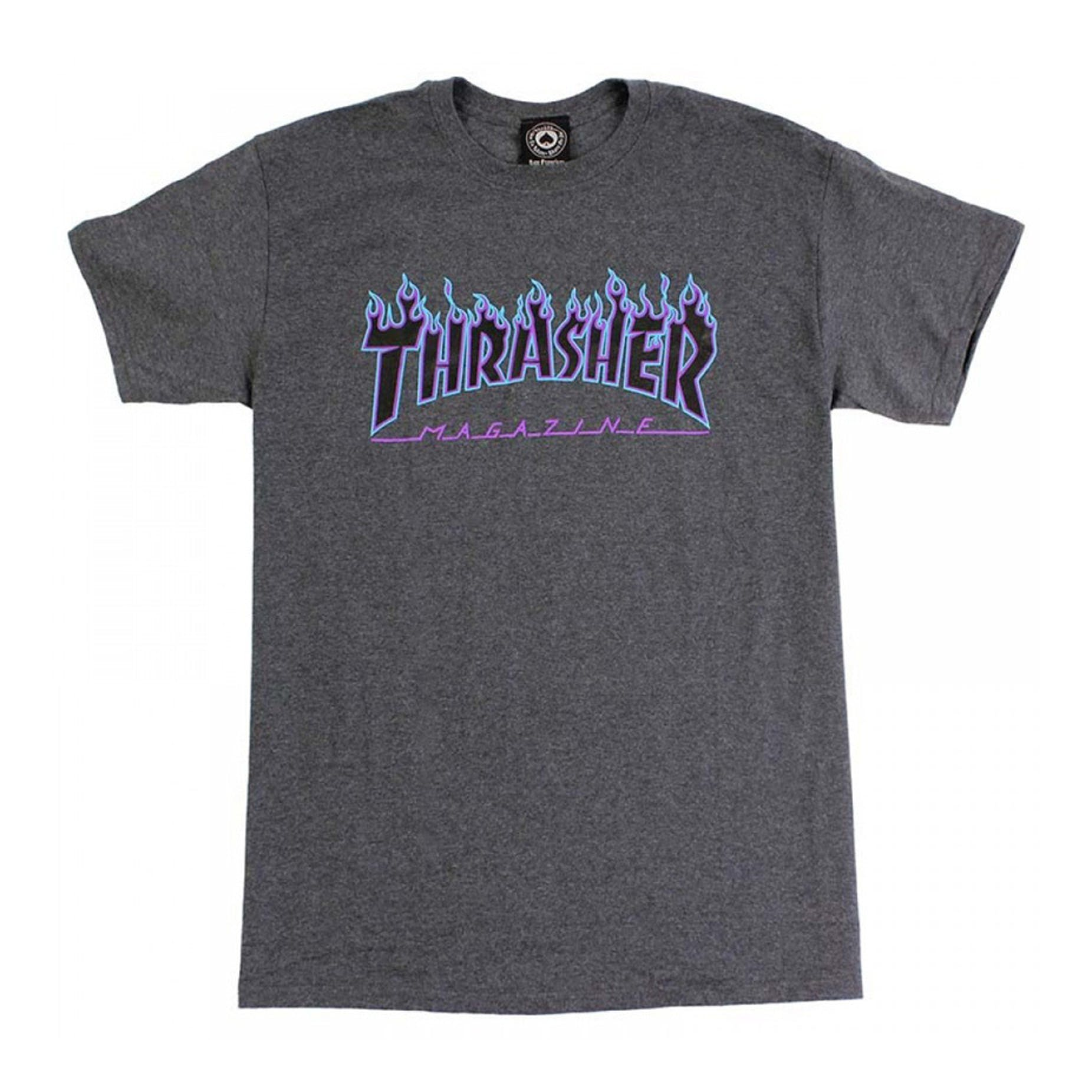 bf94f32fa892 Thrasher Flame T-Shirt - Dark Heather Grey | BOARDWORLD Store
