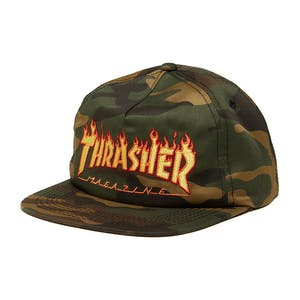 Thrasher Flame Snapback Hat - Camo