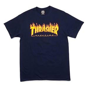 Thrasher Flame T-Shirt - Navy Blue