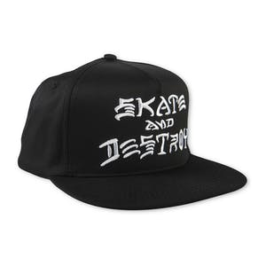 Thrasher Skate and Destroy Embroidered Snapback Hat - Black