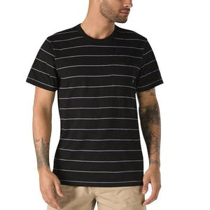 Vans Checked In Stripe Crew T-Shirt - Black/White