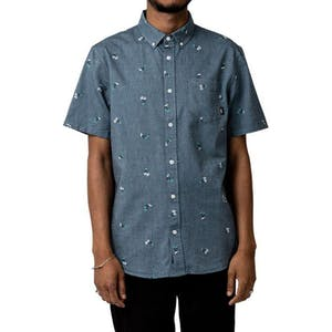 Vans Houser Button-Down Shirt - Dress Blues/Palms