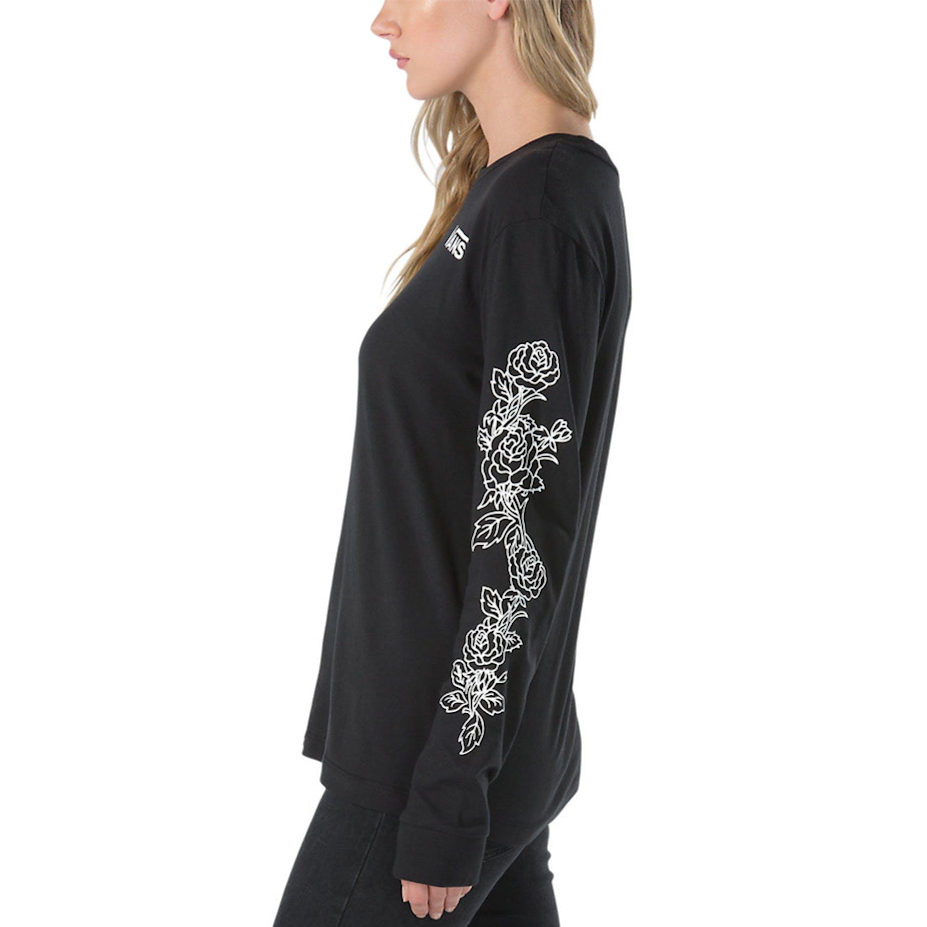 15a55e6461 Vans Women's Rose Thorns Long Sleeve T-Shirt - Black