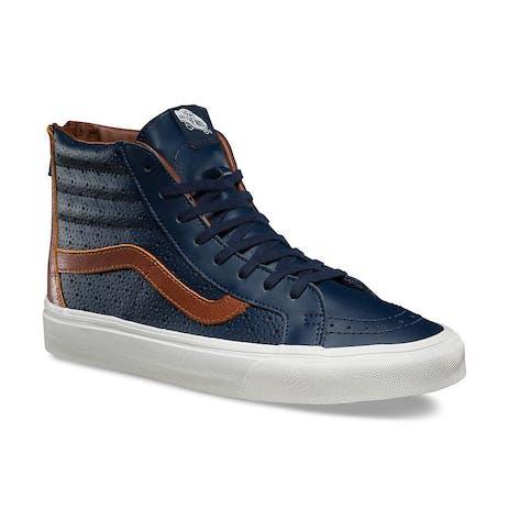 Vans Sk8 Hi Leather Perf Reissue Zip Shoe - Dress Blue/Friar Brown