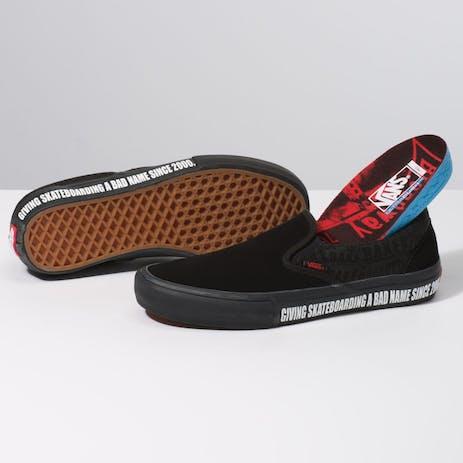 Vans x Baker Slip-On Pro Skate Shoe - Black/Black/Red