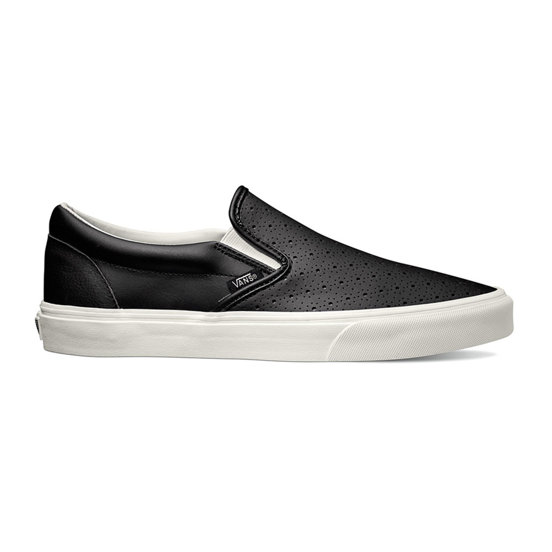 ef330bf018 Vans Classic Slip-On Leather Perf Shoe - Black/White