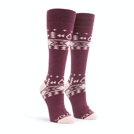 Volcom Tundra Tech Women's Snowboard Sock - Merlot