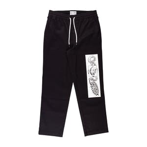 Welcome Glam Dragon Printed Elastic Pant - Black