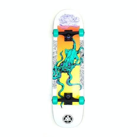 """Welcome Bactocat 8.0"""" Complete Skateboard - White"""