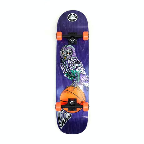 """Welcome Hooter Shooter 8.0"""" Complete Skateboard - Purple"""