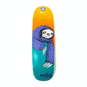 "Welcome Sloth on Boline 9.25"" Skateboard Deck - Teal/Yellow Stain"