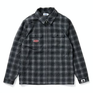 Xlarge Check Flannel Zip Shirt - Grey