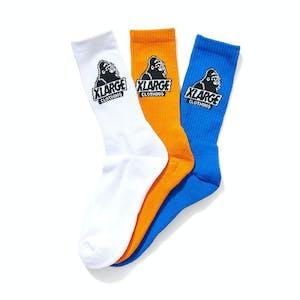 XLARGE Slanted Logo Sock 3-Pack - White/Orange/Royal