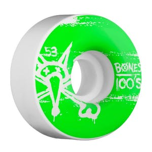 Bones 100's 53mm Skateboard Wheels - White/Green
